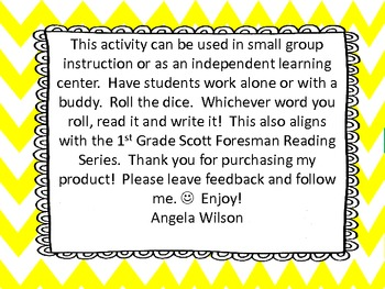 Roll, Read, and Write!  Scott Foresman Unit 2--Long /o/