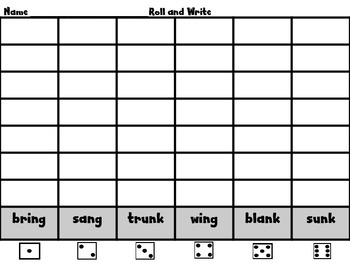Roll, Read, and Write Scott Foresman Unit 3 Week 2 Words with -ng and -nk