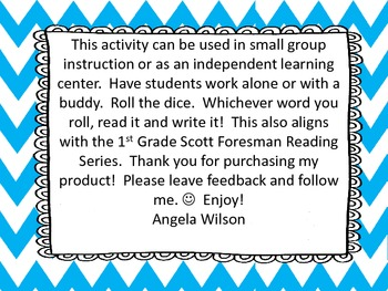 Roll, Read, and Write Scott Foresman Unit 3 Week 5 /er/, /ir/, and /ur/