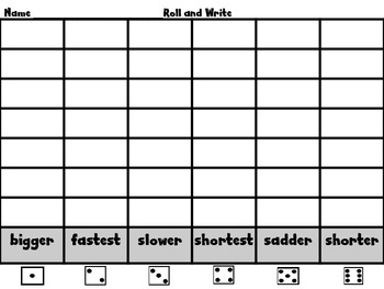 Roll, Read, and Write Scott Foresman Unit 3 Week 6 Adding -er and -est