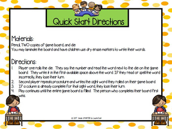 Roll, Read, and Write Sight Words:  NO PREP Sight Word Game