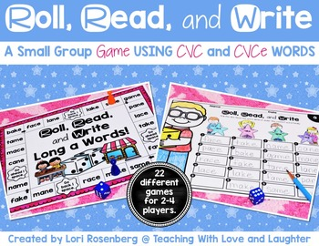Roll, Read, and Write Small Group Game {CVC and CVCe Words