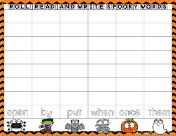 Roll, Read, and Write Spooky Sight Words