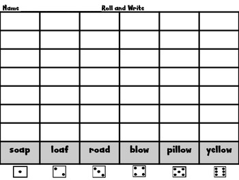 Roll, Read, and Write Unit 4 Week 3 Scott Foresman Long o spelled /oa/ and /ow/