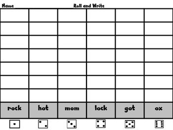 Roll, Read, and Write! WORD WORK Scott Foresman Unit 1 Short o