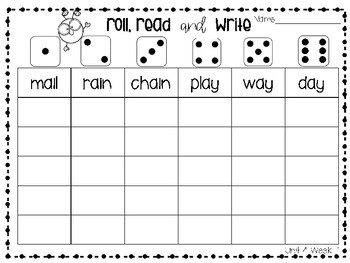 Roll, Read, and Write McGraw Hill Wonders Grade 1 Unit 4