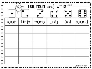 Roll, Read, and Write McGraw Hill Wonders Grade 1 Unit 5