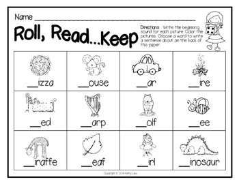 Roll, Read...Keep Game - Beginning Consonant Sounds