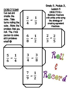 5th Eureka Math Roll & Record- Subtracting Fractions w/ Unlike Denominators