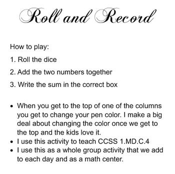 Roll & Record Smartboard Activity