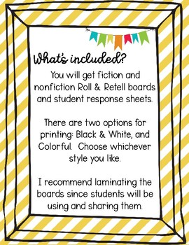 Roll & Retell for Fiction & Nonfiction Books: Independent Reading Accountability