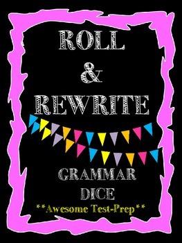 Roll & Rewrite Grammar Cubes-Subject Verb Agreement, Commas, Dialogue, & More