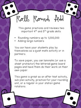 Roll, Round, Add - a rounding large numbers game {PRINT and GO!}