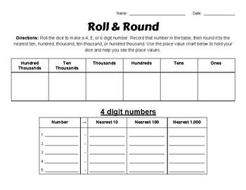Roll & Round - Rounding Activity