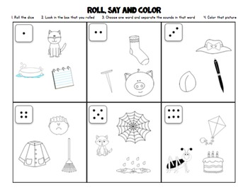 Literacy Station: Roll, Say, Color (Phoneme Segmentation Practice)