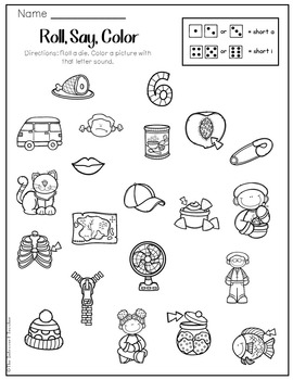 Roll, Say & Color: Short A and Short I Phonemic Awareness Printable