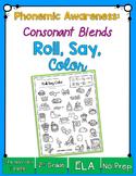 Roll, Say & Color {consonant blends phonemic awareness printable}