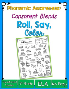 Roll, Say & Color {consonant blends phonemic awareness printable}