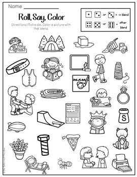 Roll, Say & Color { final consonant blends phonemic awareness printable}