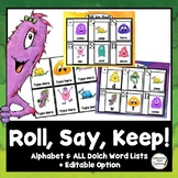 Monsters Roll, Say, Keep: Editable, Alphabet, and Dolch Si