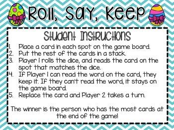 Roll, Say, Keep -- April Third Grade Edition