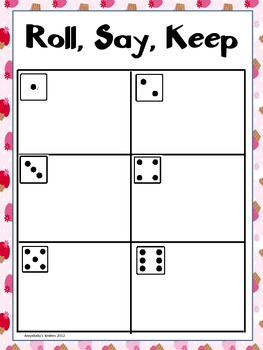 Roll Say Keep {Dolch Pre-Primer Sight Words} Valentine