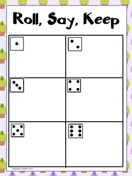 Roll Say Keep {Dolch Pre-Primer Sight Words, beg. sounds} Spring