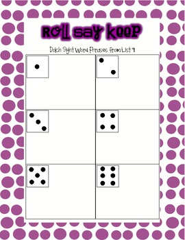 Roll Say Keep Dolch Sight Word Phrases from List 9