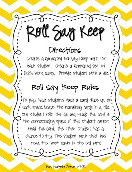 Roll Say Keep {Dolch Sight Words List 2}