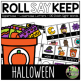 Roll, Say, Keep Game: EDITABLE Halloween Edition (Letters