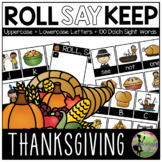 Roll, Say, Keep Game: EDITABLE Thanksgiving Edition (Lette