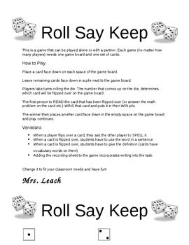 Roll, Say, Keep Game From Leach Teach