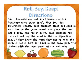 Roll, Say, Keep High Frequency Word Game Food Edition
