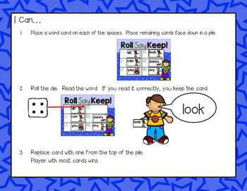 Roll, Say, Keep Like a Rock Star!--Dolch Sight Word Game for K-2