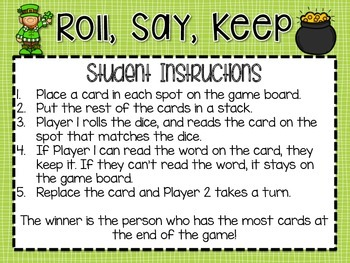 Roll, Say, Keep -- March Third Grade Edition