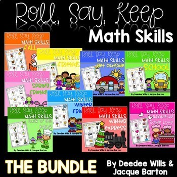 Roll, Say, Keep Math Center Game Bundle