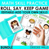 Roll, Say, Keep Math Center Game Bundle