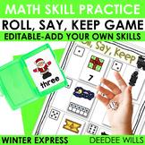 Roll, Say, Keep Math Center Game Winter Express