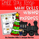 Roll, Say, Keep Math Center Game Winter Express