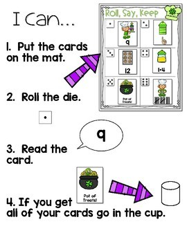 Roll, Say, Keep Math Center Game St Patrick's Day