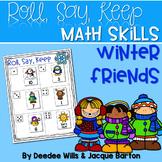 Roll, Say, Keep Math Center Game Winter