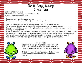 Roll, Say, Keep: Monster Themed