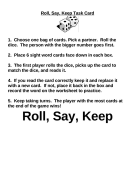 Roll Say Keep- Sight Word Center