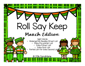 Roll Say Keep Sight Word Game (March Edition)