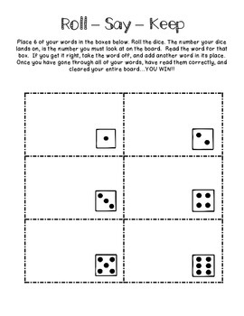 Freebie: Roll - Say - Keep (Spelling/Word Study/Sight Words/Word Work) Activity