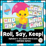 Roll, Say, Keep: Spring Editable Game, Alphabet Dolch Sight Words