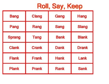 Roll, Say, Keep Word Families ang, ank, ant, ap, ash, ast, ass.