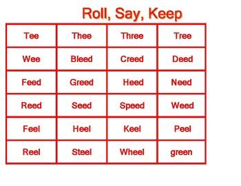 Roll, Say, Keep Word Families ean, eam. eep, eet,