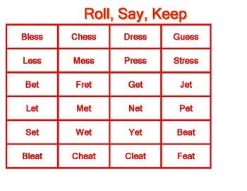 Roll, Say, Keep Word Families ess, et, eat, eak, eek, eal, eap
