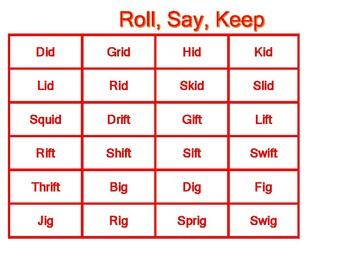 Roll, Say, Keep Word Families ib, id, ift, ig, ill